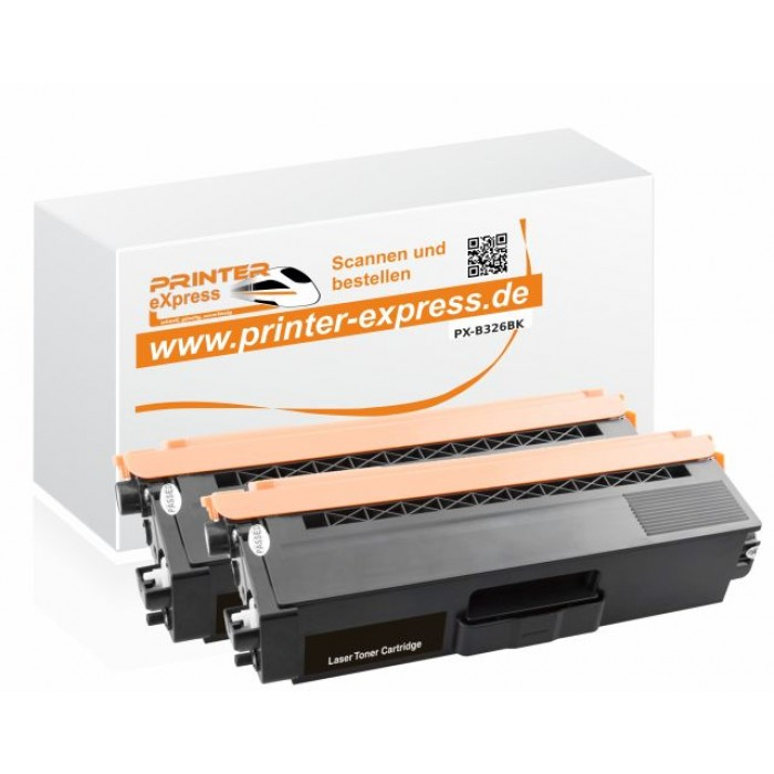 Toner 2er Set alternativ zu TN-326BK, TN326BK für Brother...