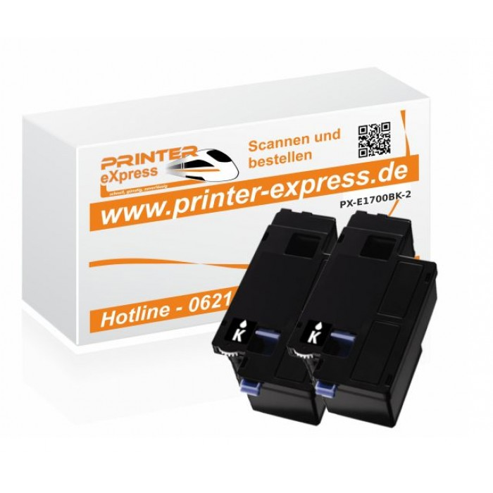 Toner 2er Set alternativ zu C13S050614, C1700, 0614 für...