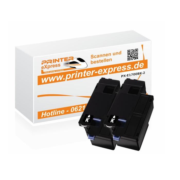 Toner 2er Set alternativ zu C13S050614, C1700, 0614 für...
