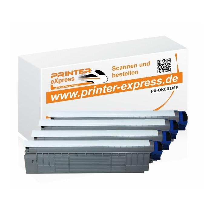 Toner 4er Set ersetzt Oki C801, C801 XL für Oki Drucker