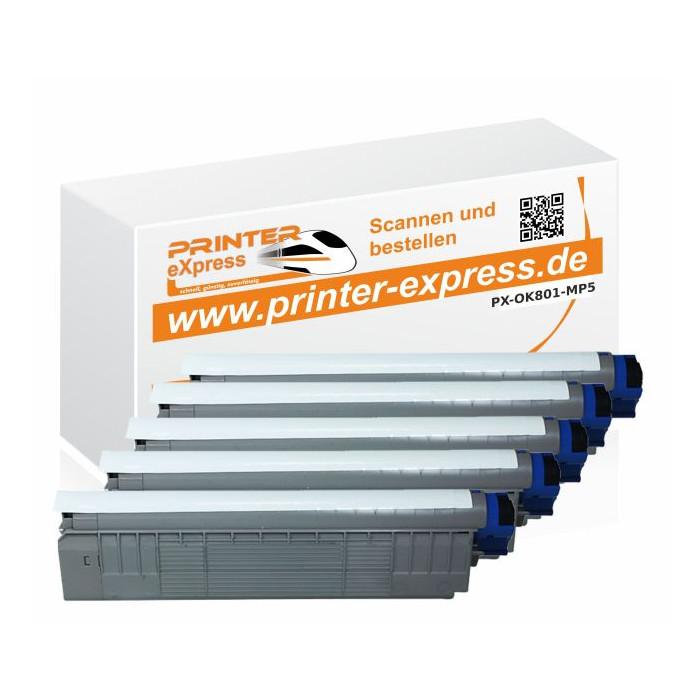 Toner 5er Set ersetzt Oki C801, C801 XL für Oki Drucker