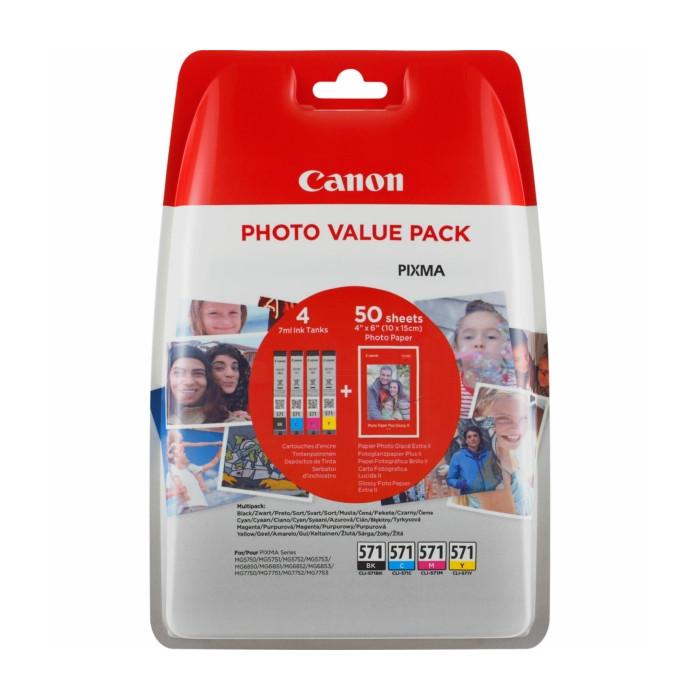 Canon Value Pack 4er Set CLI-571, CLI571 mit 50 Blatt...