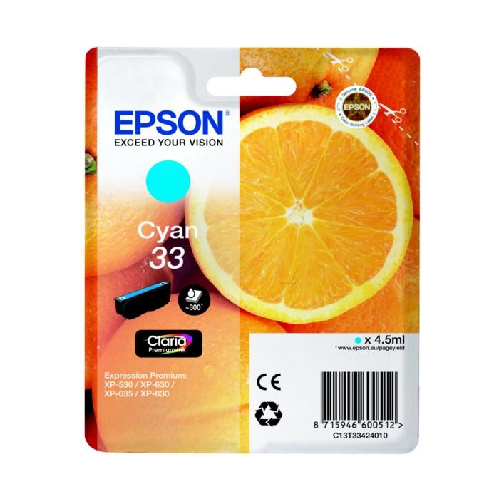 Epson T3342, 33 Druckerpatrone cyan