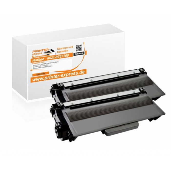 Toner 2er Set alternativ zu Brother TN-3380, TN3380 für...
