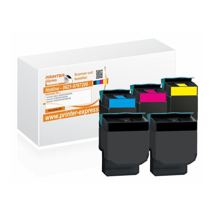 Toner 5er Set alternativ zu Lexmark C540H2KG, C540H2CG,...