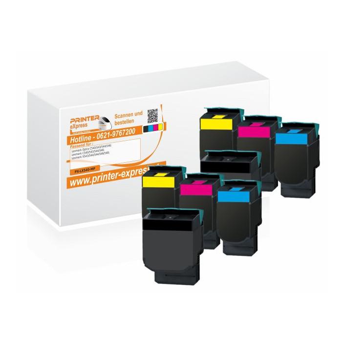 Toner 8er Set alternativ zu Lexmark C540H2KG, C540H2CG,...