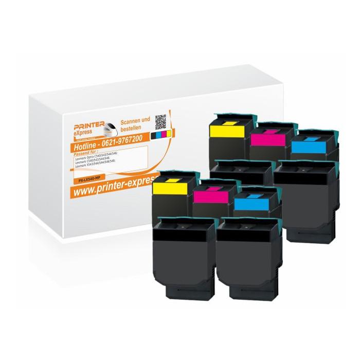 Toner 10er Set alternativ zu Lexmark C540H2KG, C540H2CG,...