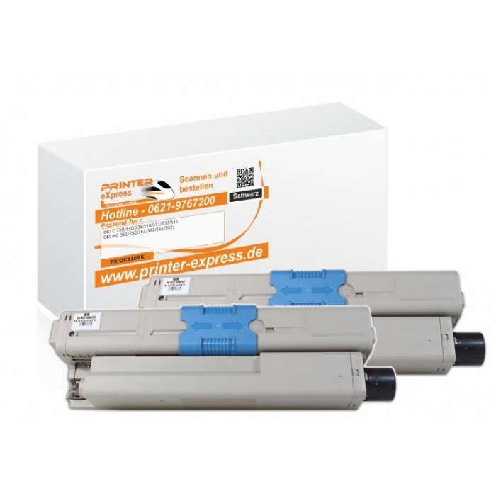 Toner 2er Set alternativ zu Oki 44469803 XL für Oki C310...