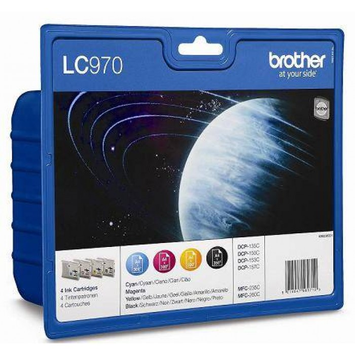 Brother Value Pack LC-970, LC970  Multi Pack, 4 Tintenpatronen