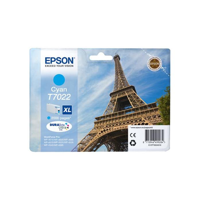 Epson Tintenpatrone cyan C13T70224010, T7022 XL 2000 Seiten