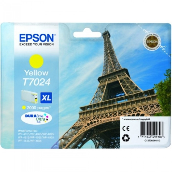 Epson Tintenpatrone gelb C13T70244010, T7024 XL 2000 Seiten